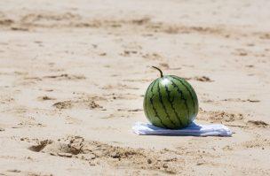 夏の砂浜と西瓜